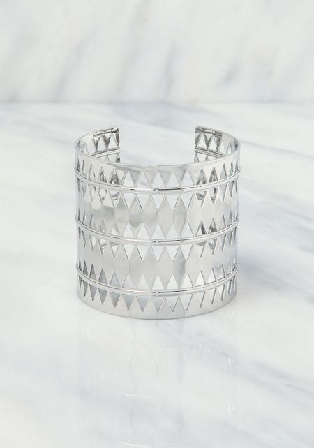 Silver Diamond Laser Cut Cuff Bracelet