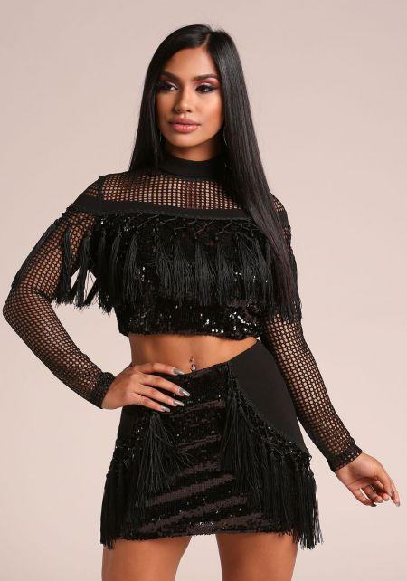 Black Sequin Tassel Mesh Net Crop Top