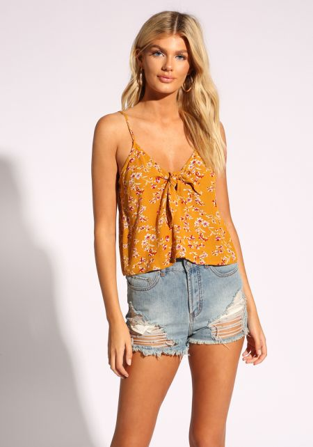 Mustard Floral Tie Front Tank Top