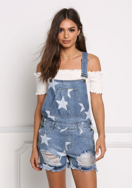 Denim Distressed Star Print Overalls