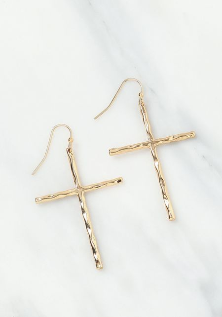 Gold Textured Cross Earrings