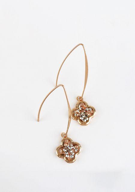 Gold Rhinestone Hook Earrings