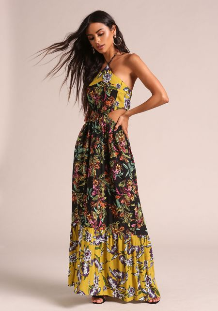 Lime Floral Cut Out Smocked Maxi Dress
