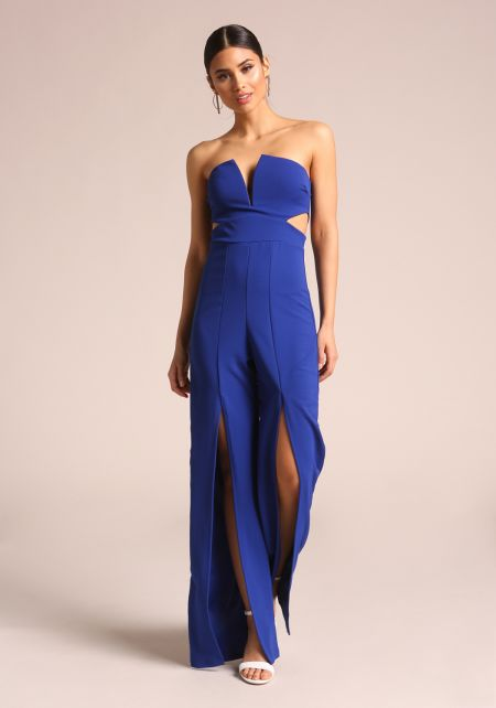 Royal Blue Strapless High Slit Jumpsuit