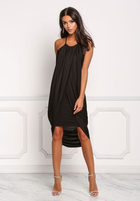 Black Lustrous Draped Surplice Hi-Lo Dress