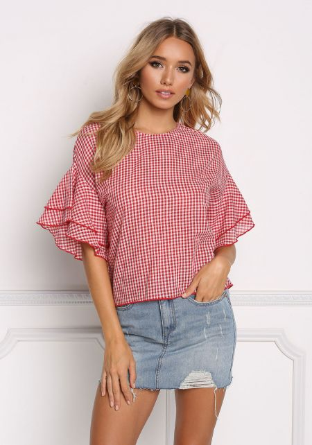 Red Gingham Ruffle Sleeve Blouse