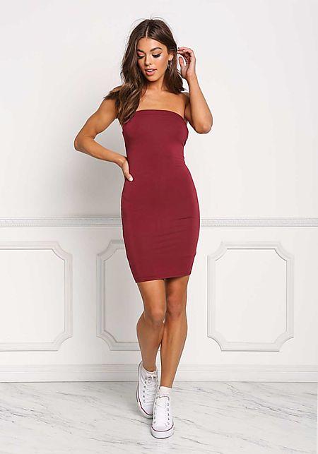 Burgundy Strapless Jersey Knit Bodycon Dress