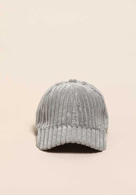 Grey Ribbed Faux Fur Dad Cap