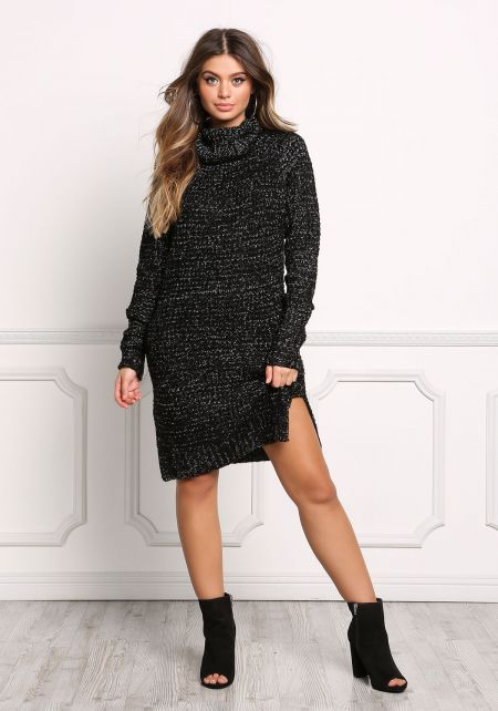 Black Thick Knit Speckled Sweater Dress