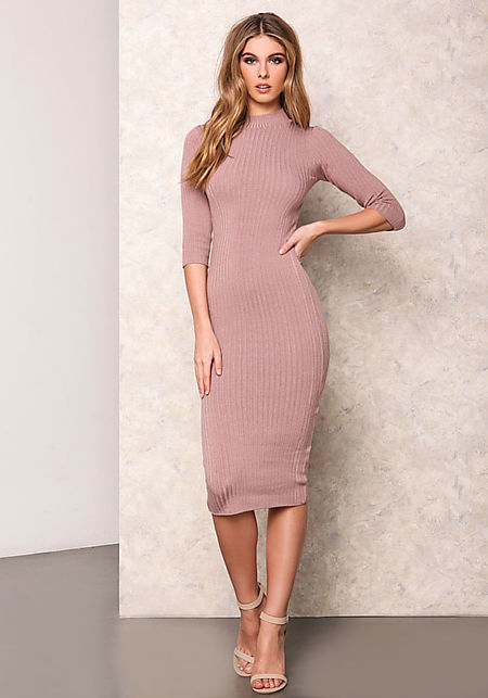 Dusty Pink Bodycon Dress - Missy Dress