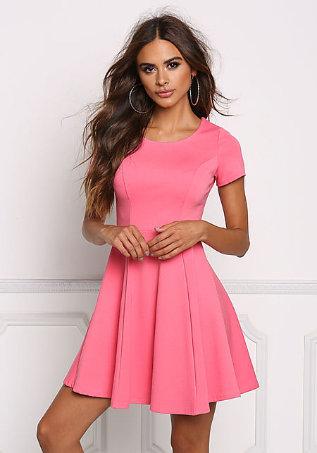 Coral Minimalist Flared Dress