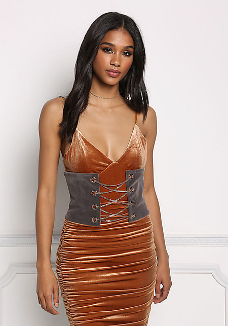 Grey Corset Chain Velvet Belt