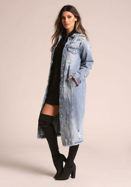 Denim Distressed Longlined Jacket