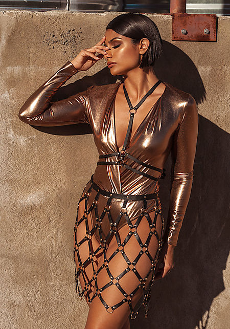 Bronze Metallic Plunge Bodysuit