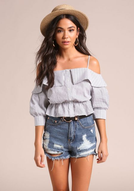 White and Black Pinstripe Cold Shoulder Blouse