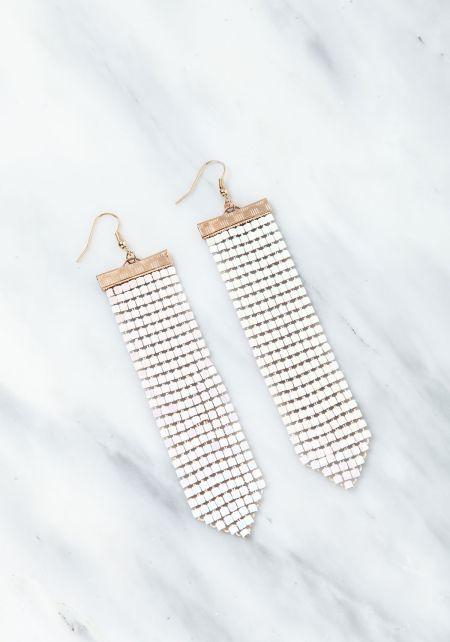White Chandelier Iridescent Earrings