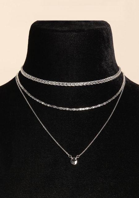 Silver Three Chain Cross Choker