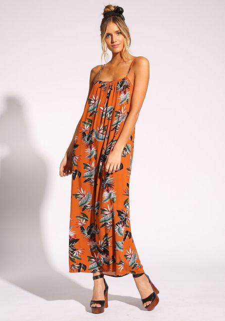 Dark Orange Floral Maxi Dress
