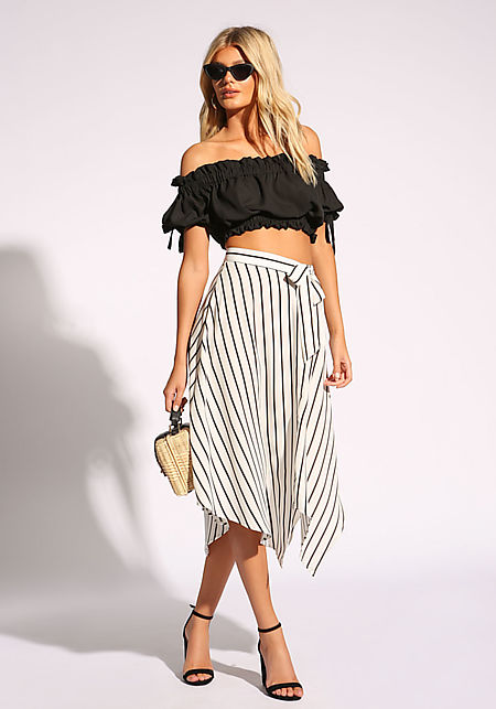 White Pinstripe Faux Wrap Skirt