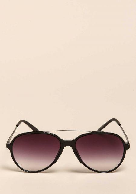 Black Aviator Bar Sunglasses