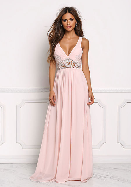 Blush Floral Crochet Trim Maxi Gown