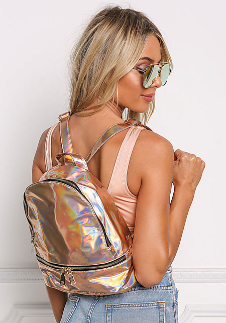 Rose Gold Holographic Backpack