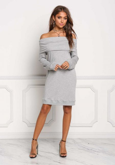 Heather Grey Fold Over Off Shoulder Shift Dress