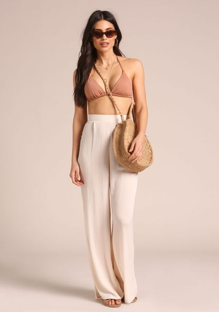 Cream High Waist Palazzo Pants