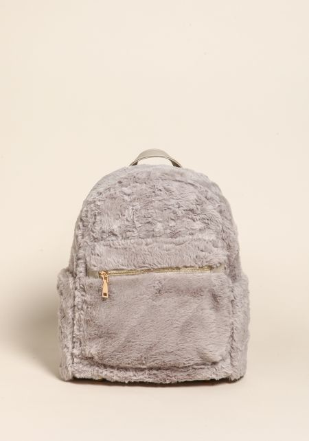 Grey Fuzzy Faux Fur Backpack