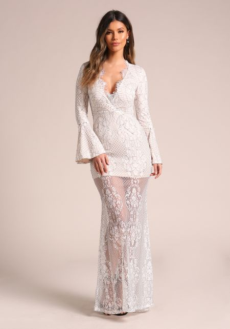 White Floral Lace Bell Sleeve Maxi Gown