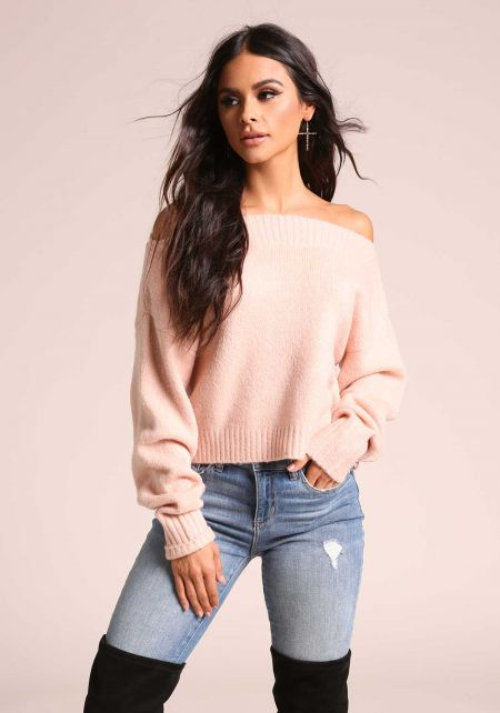 Blush Off Shoulder Soft Knit Sweater Top