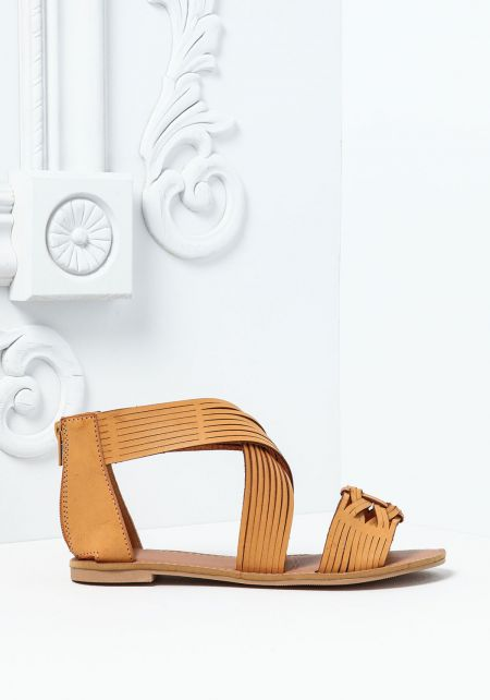 Camel Leatherette Braided Open Sandals