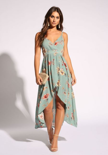 Sage Floral Hi-Lo Faux Wrap Dress