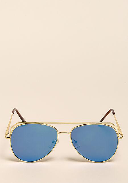 Blue Flat Aviator Top Bar Sunglasses