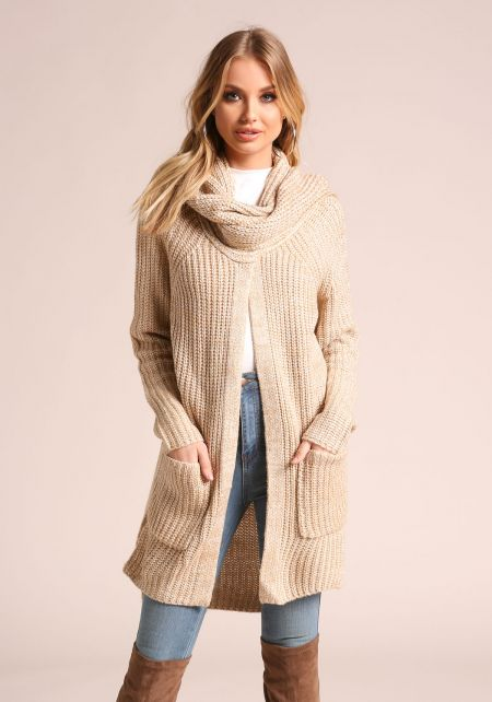 Oatmeal Marled Thick Knit Scarf Cardigan
