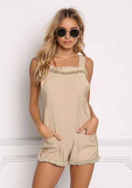 Taupe Pocket Front V Back Frayed Romper
