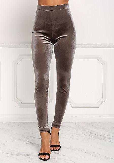 Grey Velvet High Rise Leggings