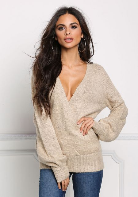 Taupe Low Surplice Soft Knit Sweater Top