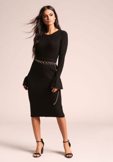 Black Ribbed Knit High Rise Skirt