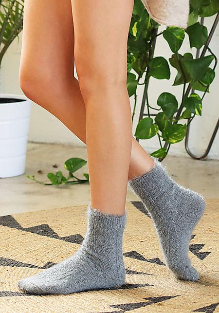 Grey Fuzzy Knit Socks