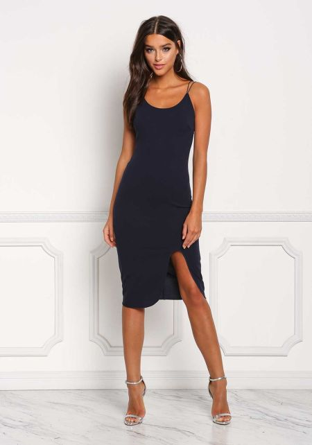 Navy Double Strap Slit Bodycon Dress