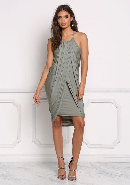 Sage Jersey Knit Draped & Layered Dress