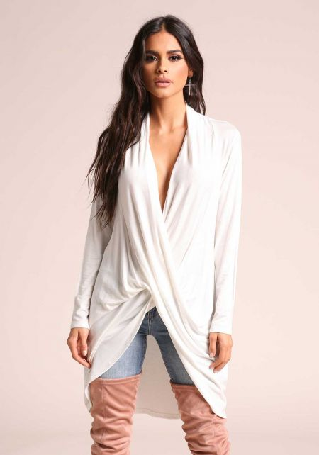 White Plunge Draped Hi-Lo Jersey Knit Top