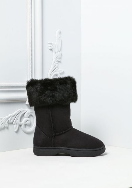 Black Faux Fur Trim Suedette Boots