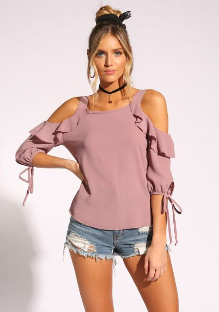 Mauve Ruffle Cold Shoulder Blouse with Choker