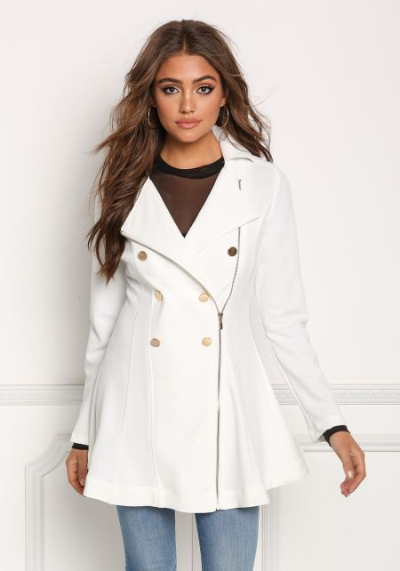 Ivory Flared Double Breasted Trench Jacket