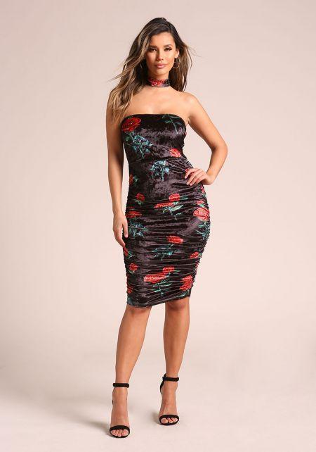 Black Rose Velvet Choker Ruched Bodycon Dress