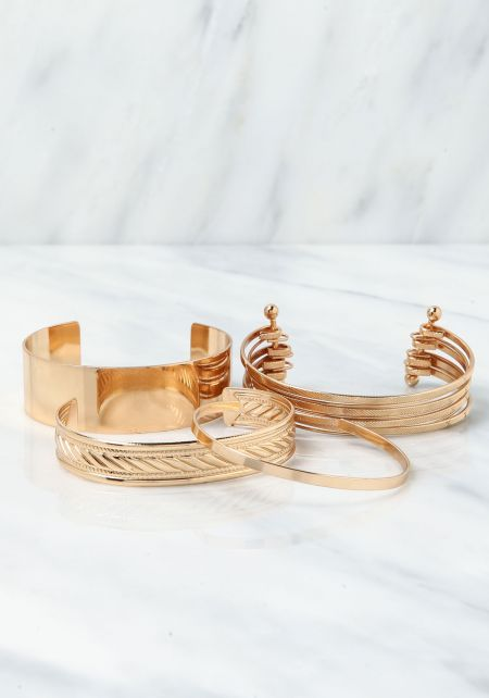 Gold Cuff Assorted Bracelet Set