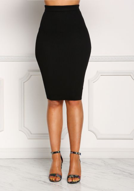 Black Ribbed Knit High Rise Skirt