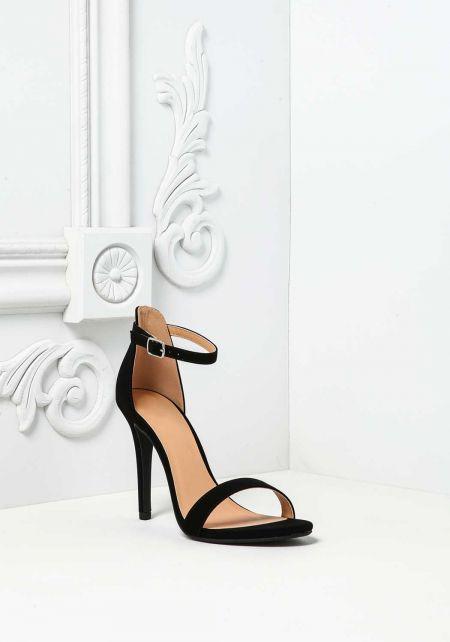 Black Suedette Ankle Strap Heels